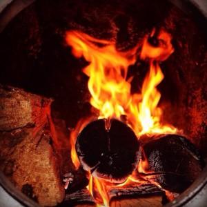 Горящие дрова в печи