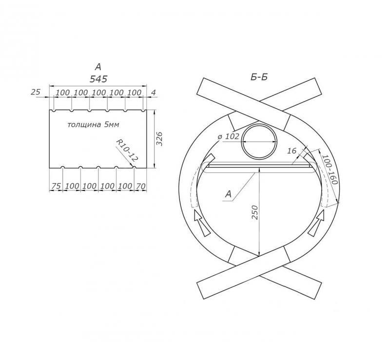 Схема, чертеж печи булерьян в разрезе