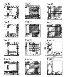 Схема кладки русской печи 13-24 рядов