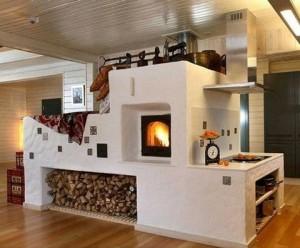 Усовершенствованная русская печь с плитой в загородном доме