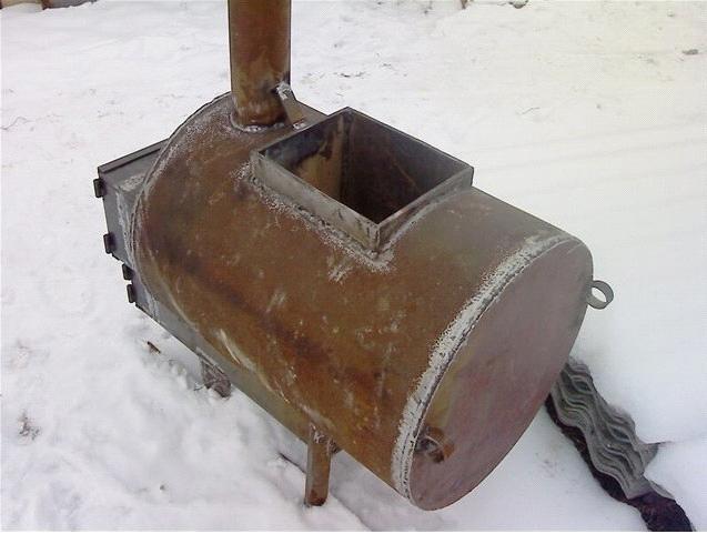 Печь-каменка из трубы для бани