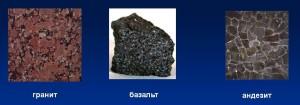 Гранит, базальт, андезит