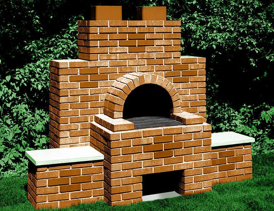 Кирпичная печь-мангал на дачном участке