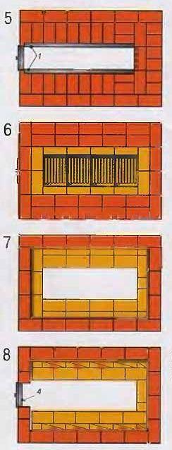Порядовка газовой печи для бани 5-8 ряды