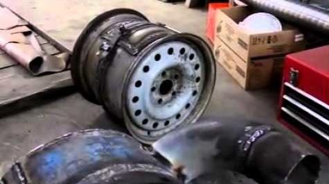 Печь для бани из колесных дисков грузового автомобиля