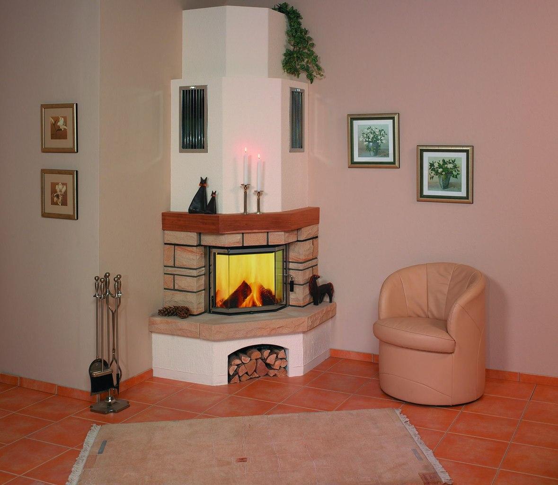 Угловой электрический камин с дымоходом