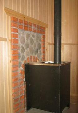 Обшивка стены с облицовкой в бане