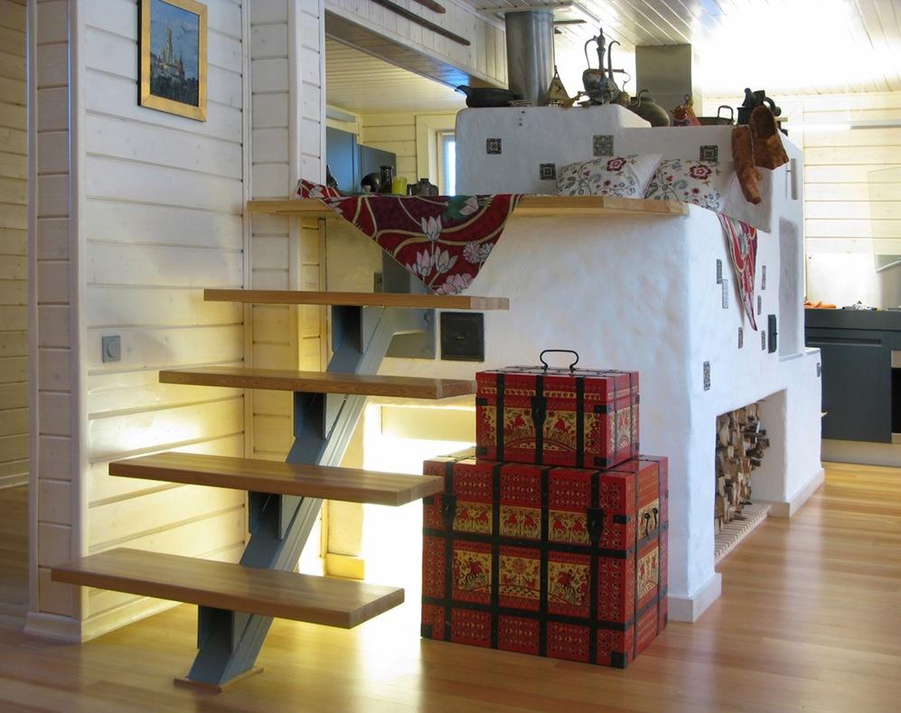 Русская печь с лежанкой в интерьере квартиры