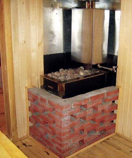 Печка в бане обложенная кирпичом