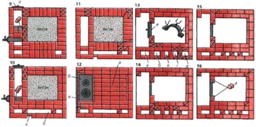Русская печь с плитой и лежанкой 9-16 ряды
