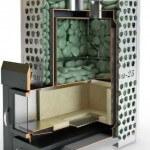Чугунная печь в баню с закрытой каменкой