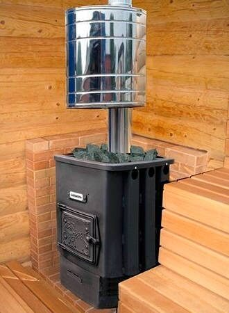 Газодровяная печь с баком на трубе