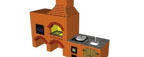 Проект мангала из кирпича с плитой