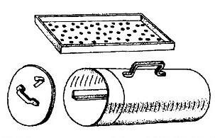 Чертеж переносной коптильни в виде цилиндра