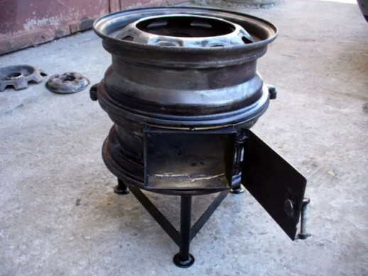 Печь для казана из колесных дисков, из кирпича